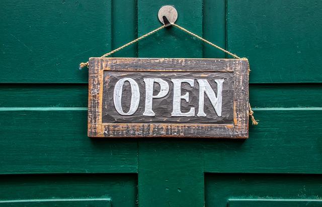 """""""open"""" sign on door; tetelestai"""
